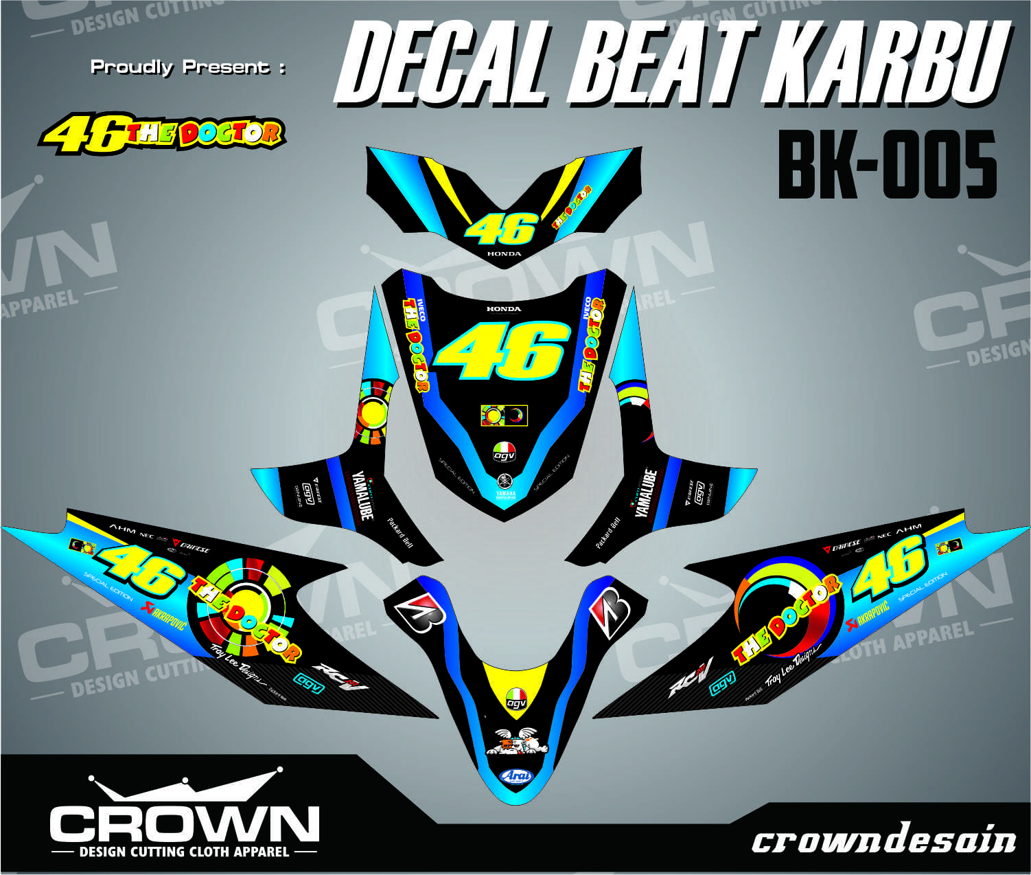 Jual sticker decal motor beat karbu vr46 crown desain tokopedia