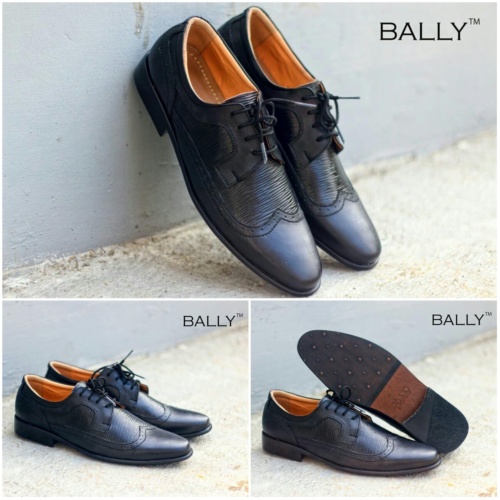 PENAWARAN Sepatu Pantofel Pria Bally Wingtip Hitam Premium Kulit Asli Murah 6d5fa5393e
