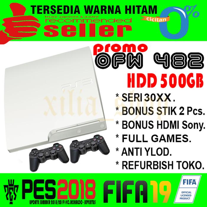 PS3 PS 3 SONY Playstation 3 SLIM OFW 500GB FULL GAMES - PUTIH - Putih
