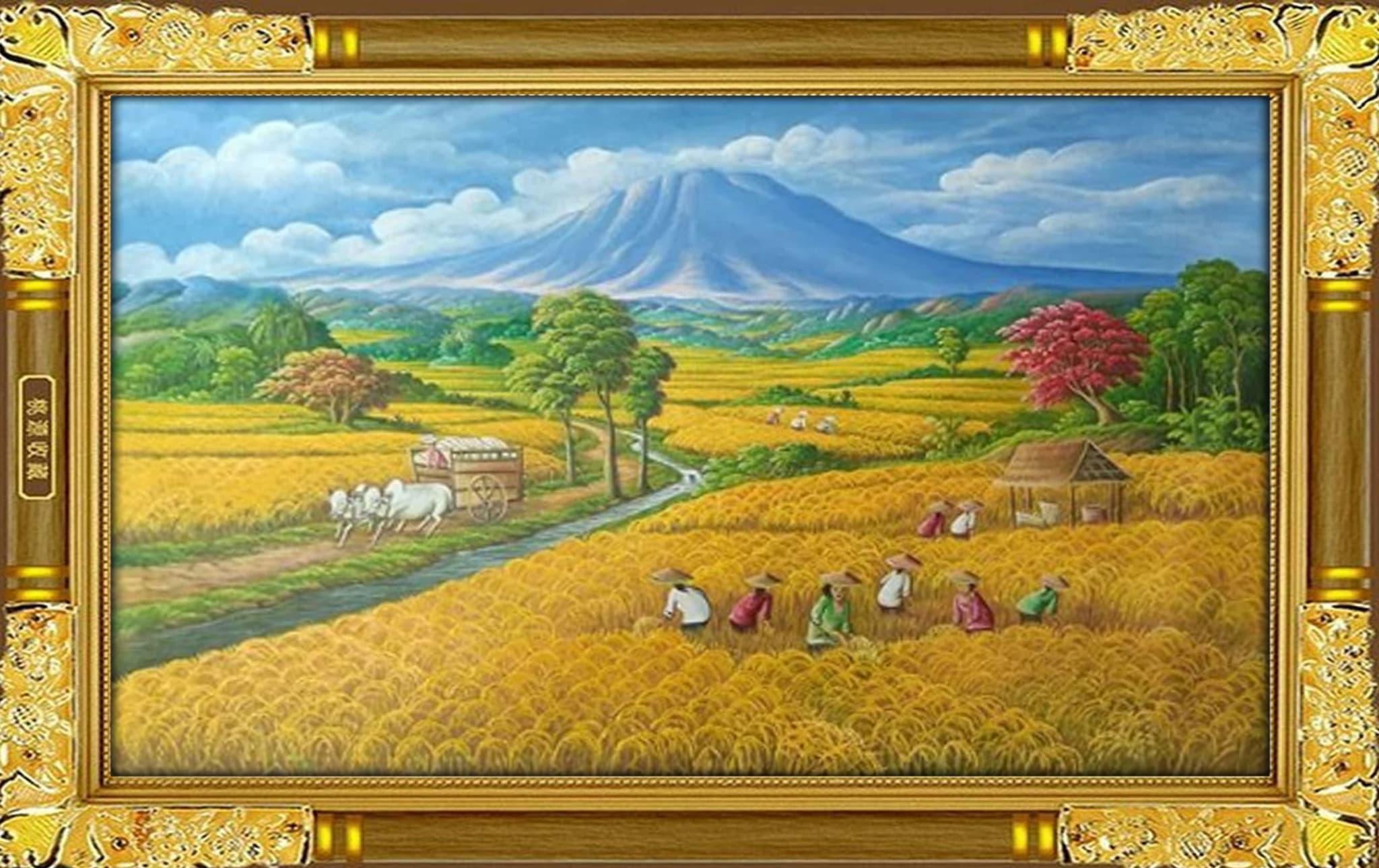 Lukisan Sawah Padi Hitam Putih