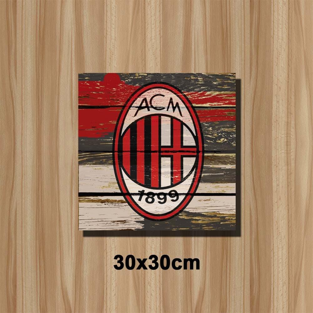 Jual poster art vintage wall art bingkai kayu ac milan b