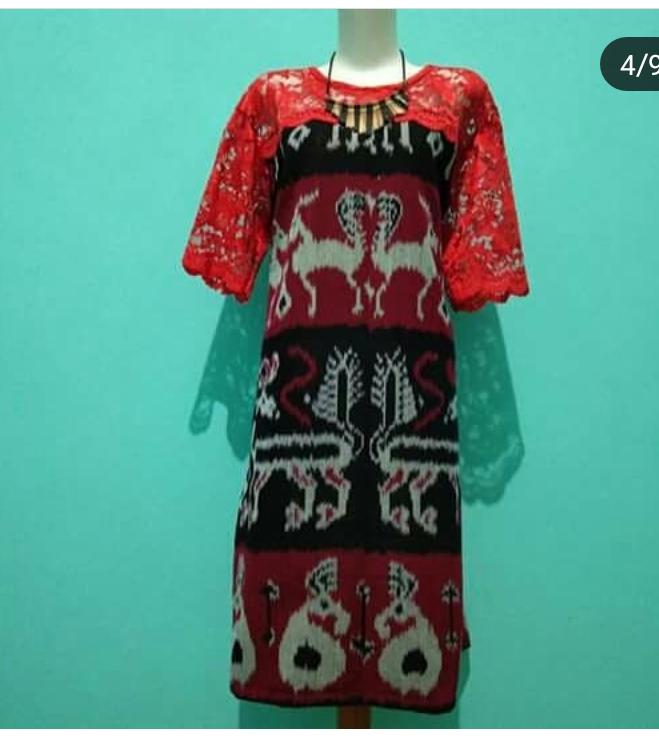 Jual Dress Tenun Menjangan Merah Kombinasi Brokat Kab Jepara