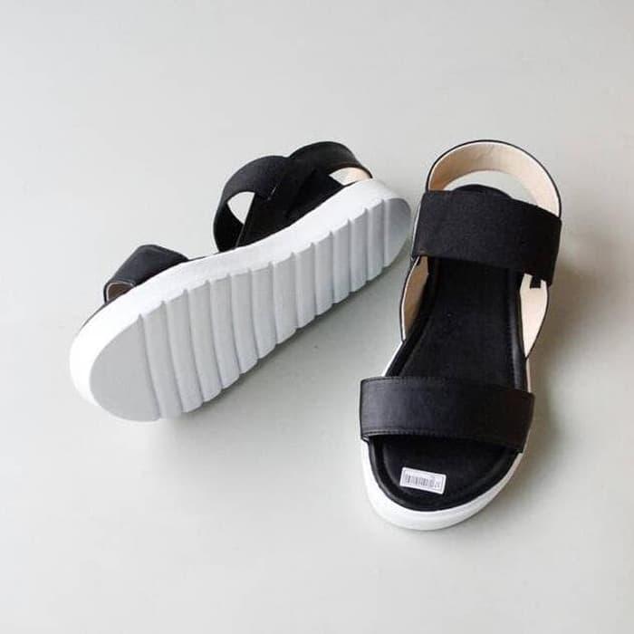 375138495 MURAH Safa Shoes - Sandal Sendal Platform Wanita Du Strech Karet - Hitam
