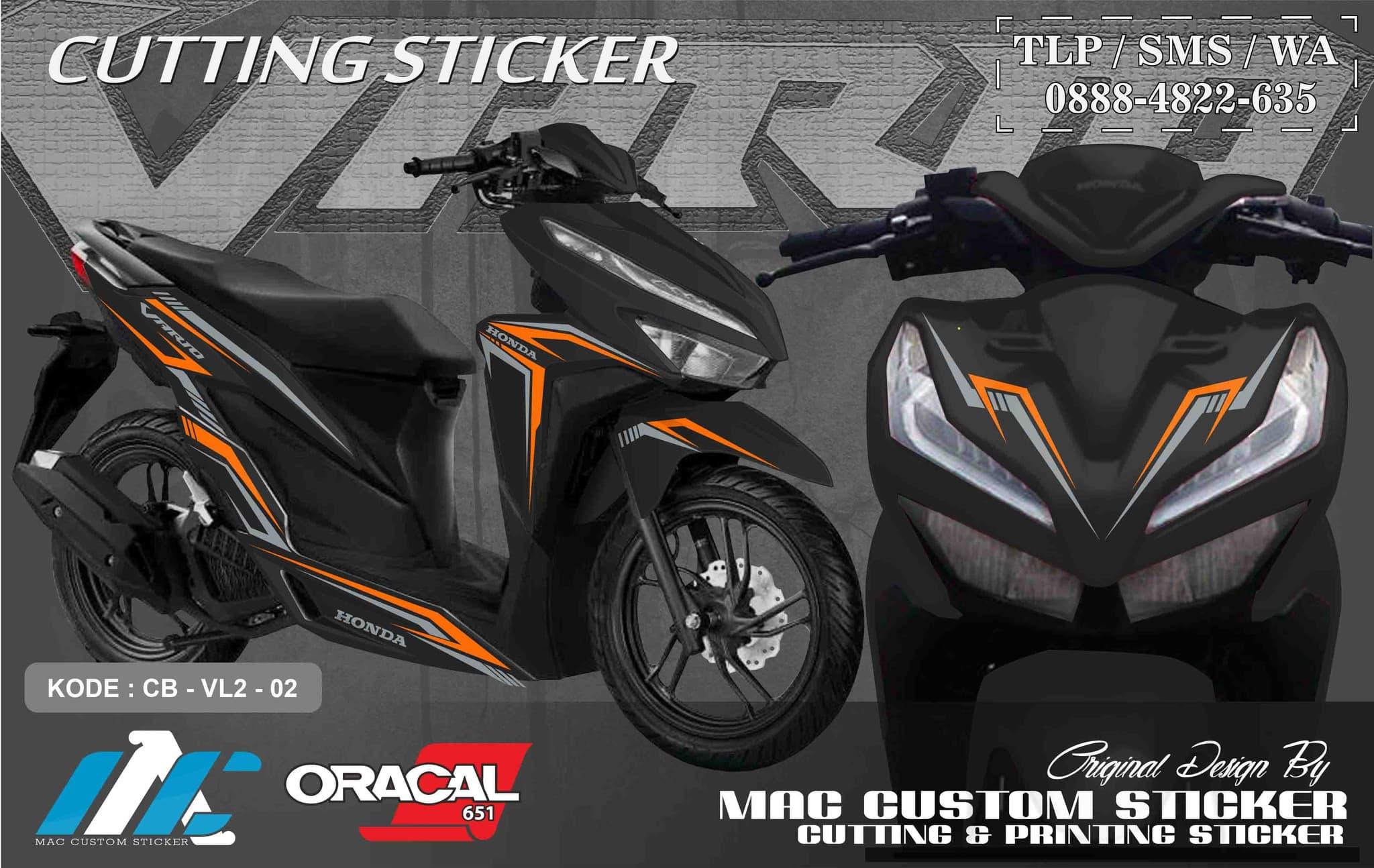 Jual cutting sticker stiker vario 125 150 facelift type 2 hitam kab jombang mac custom sticker tokopedia