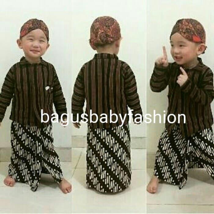 MURAH Baju Adat Tradisional Jawa Surjan Lurik Anak Set Blangkon  amp ... 11db6aa729