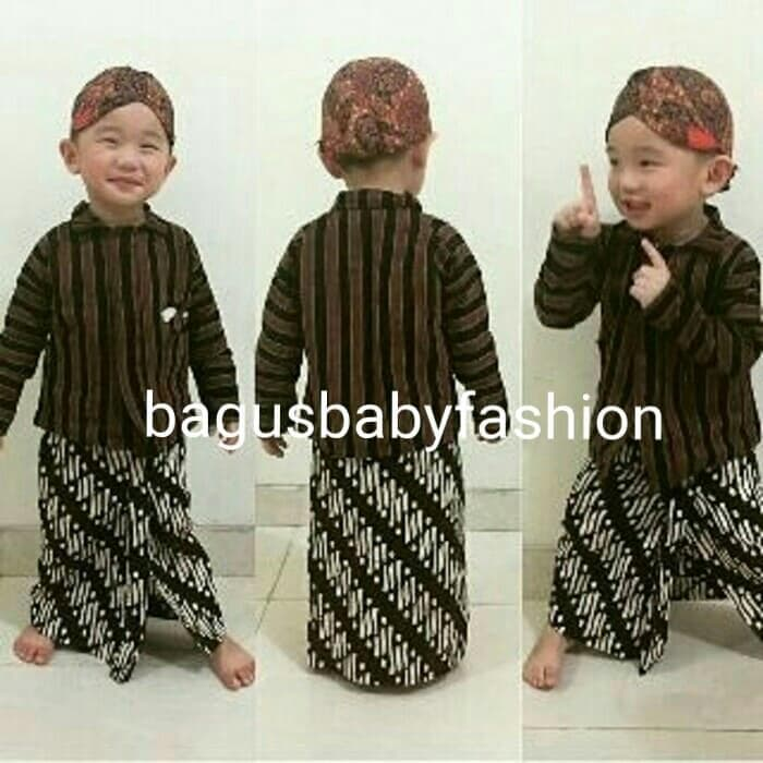 Baju Adat Tradisional Jawa Surjan Lurik Anak Set Blangkon & Jarik -