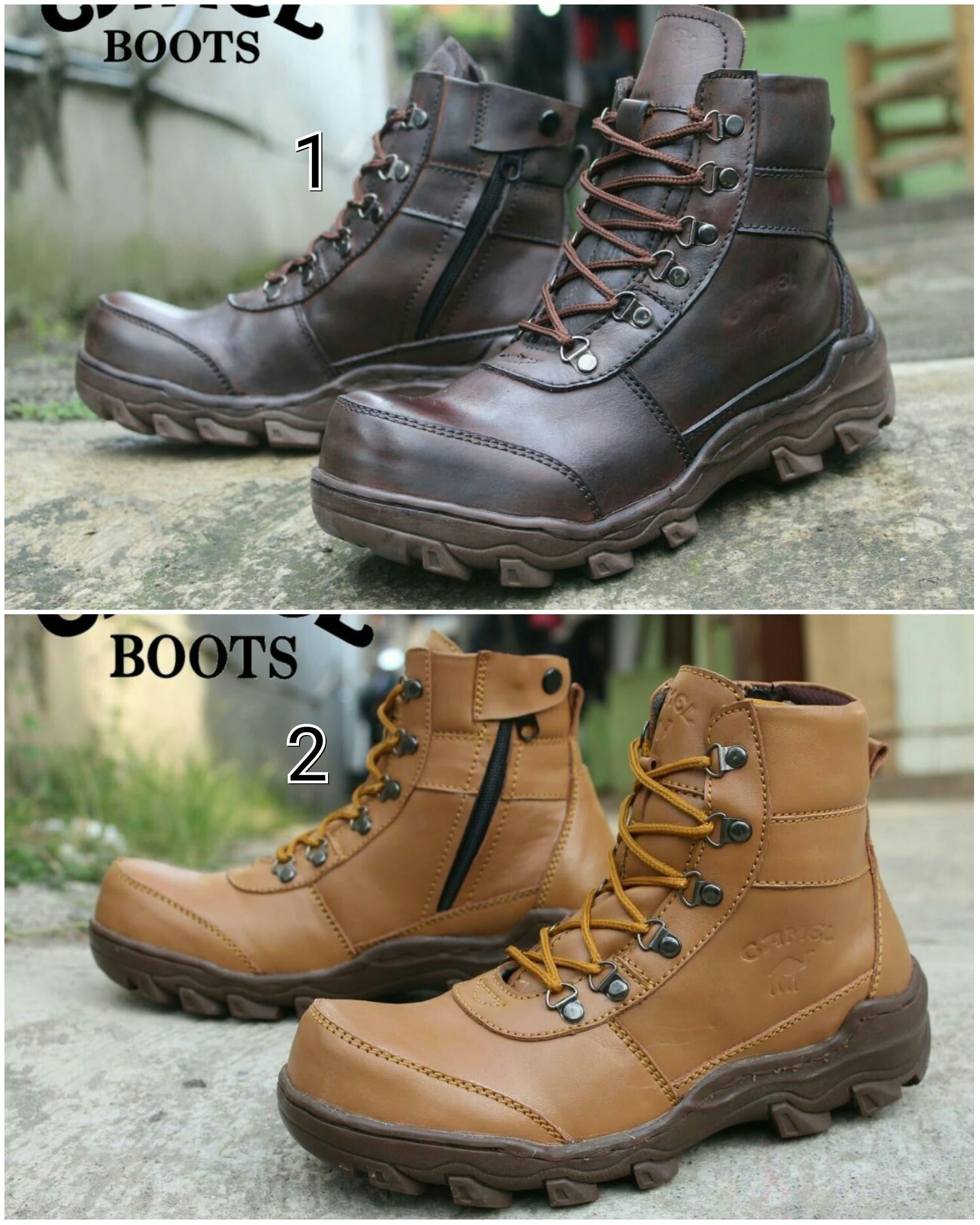 DISKON Sepatu Boots Pria Camel Mountain Safety Kulit Asli Ujung Besi 6838d9b5ca