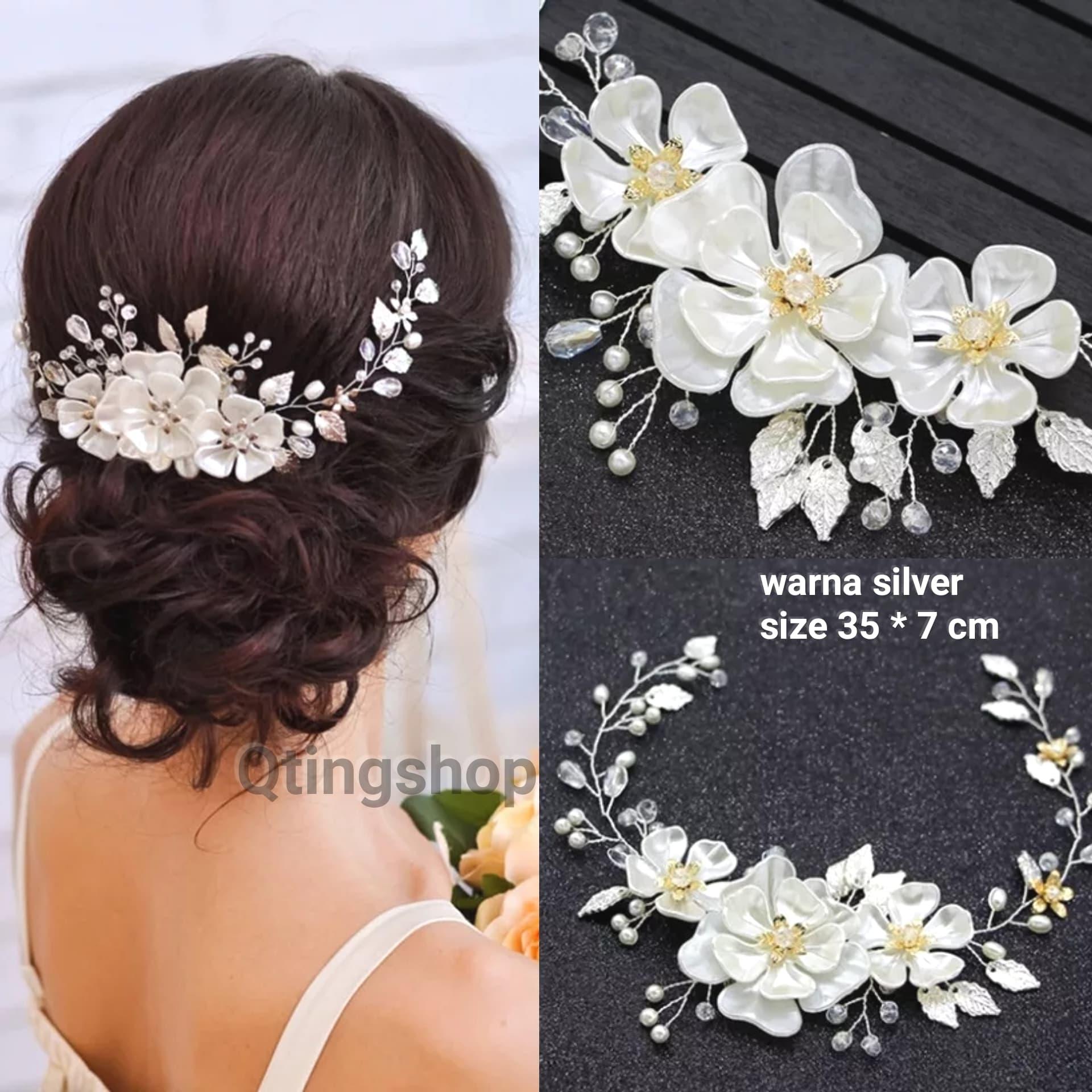hairpiece bunga putih hiasan rambut pengantin aksesoris pesta thumbnail