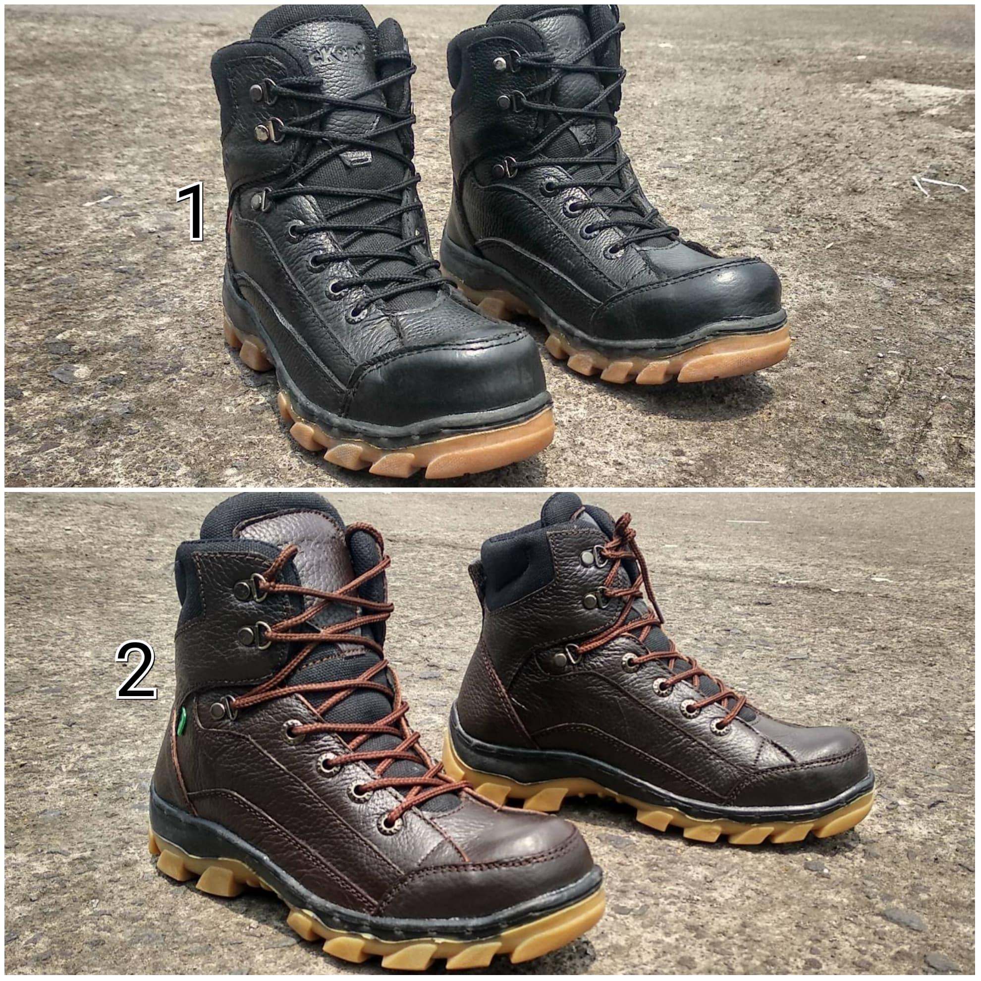 PENAWARAN Sepatu Boots Pria Kickers Tracking Kulit Asli Safety Ujung Besi 630d13260c