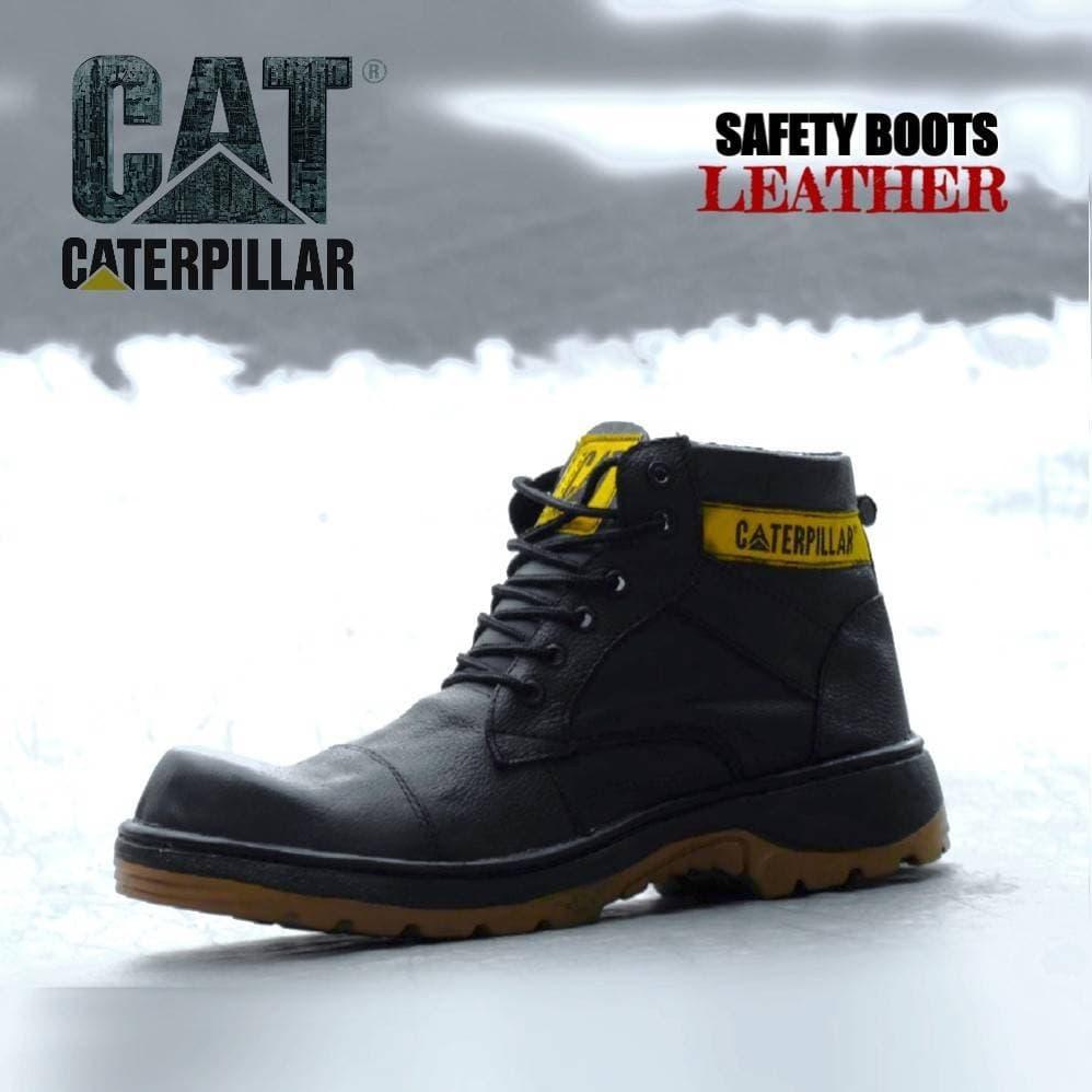 DISKON Sepatu Caterpillar Leather Hitam Kulit Asli Safety Boots Pria  Tracking 029f38a6d6