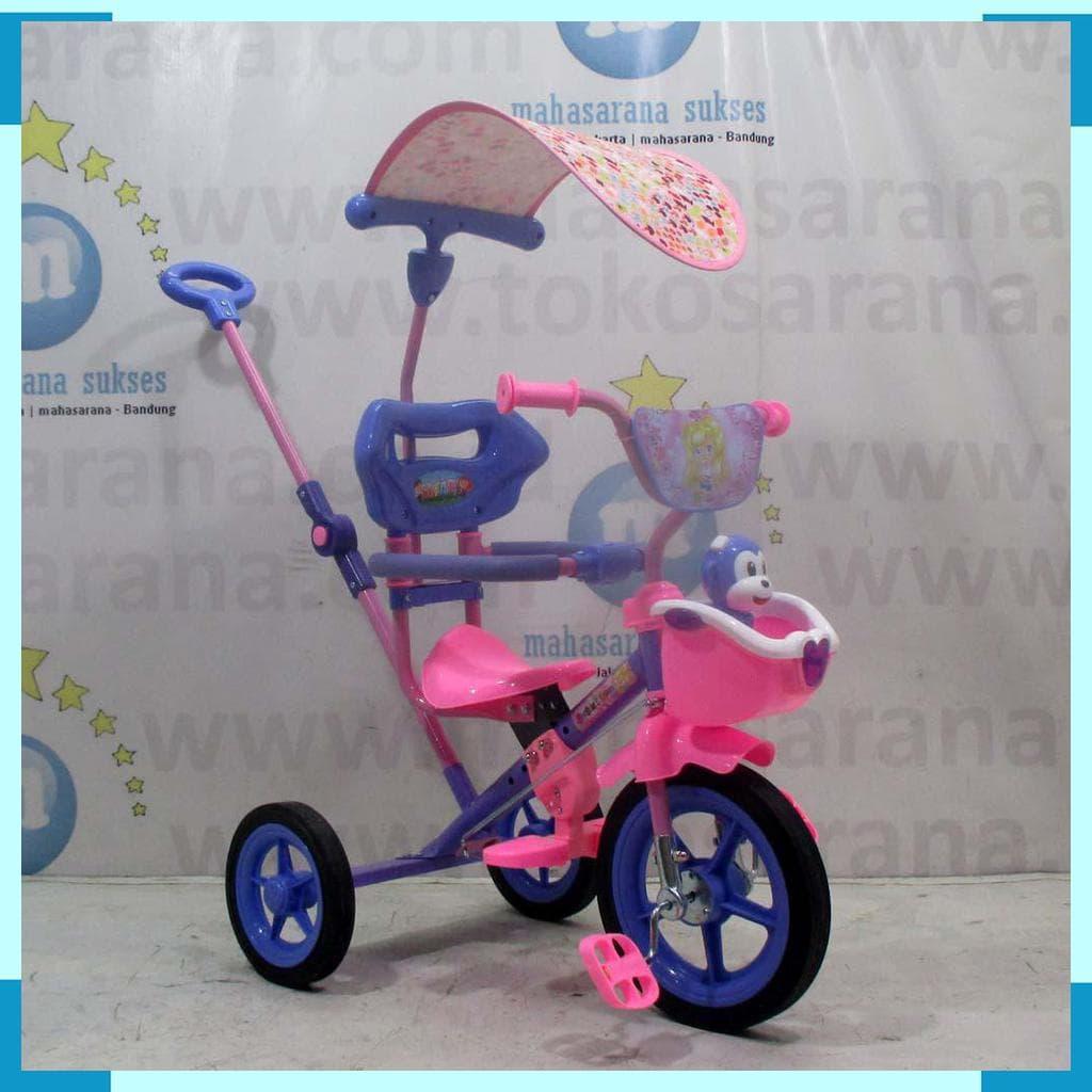 MURAH Sepeda Roda Tiga BMX Anak PMB 922 Love 1-3 Thn Musik Monkey Tongkat 4a55f0e1e6