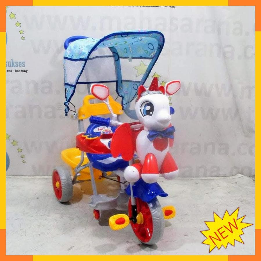 DISKON Sepeda Roda Tiga Anak Family Unicorn Melody   Sandaran Tangan Car 99161594e0