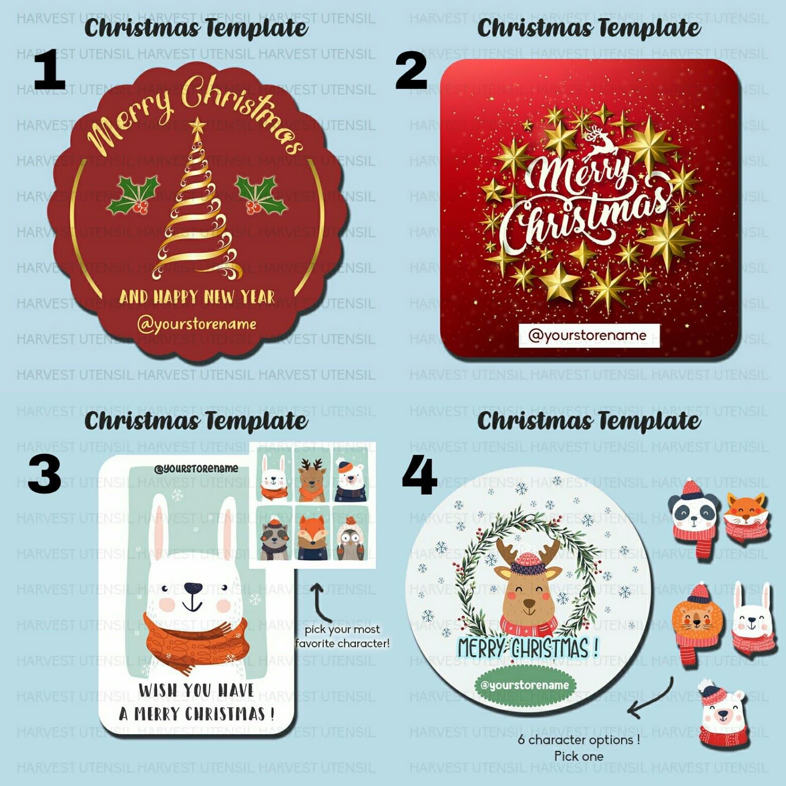 Jual custom sticker label vinyl natal christmas template 1 dki jakarta girls thing shop tokopedia