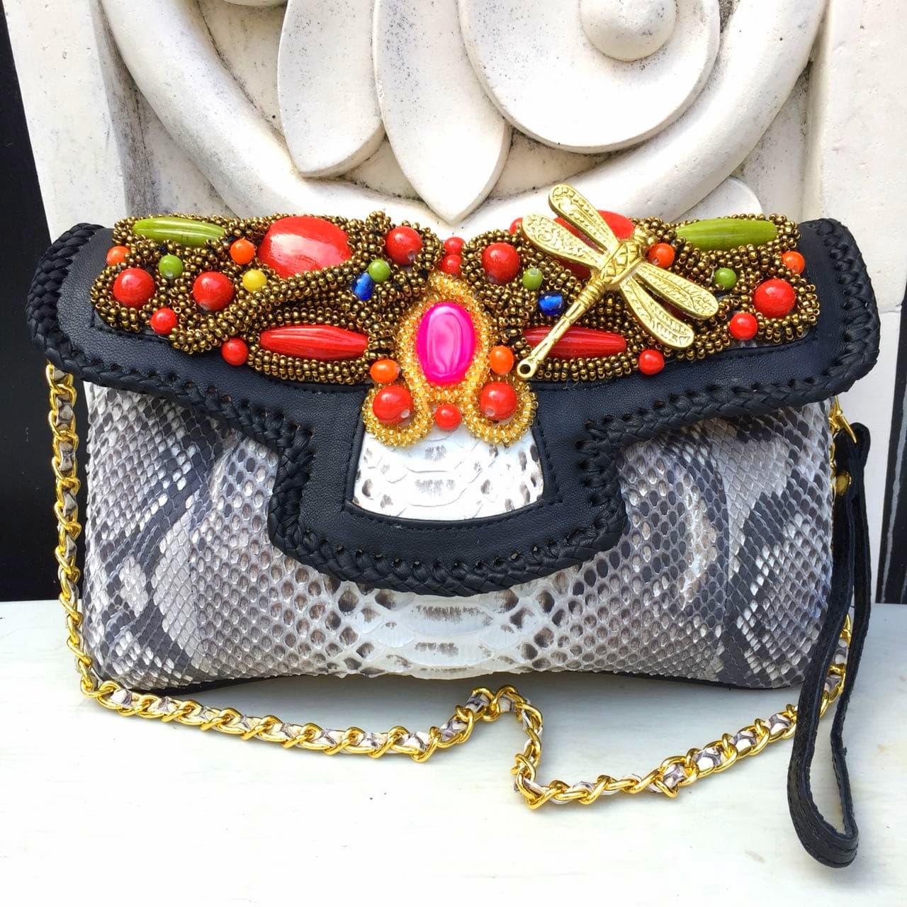Jual Clutch Kulit Ular Phyton Raisa Model Kipas L - Tas Pesta Natural Color  - Tas Kulit Cantik Bali  dda9c01c44