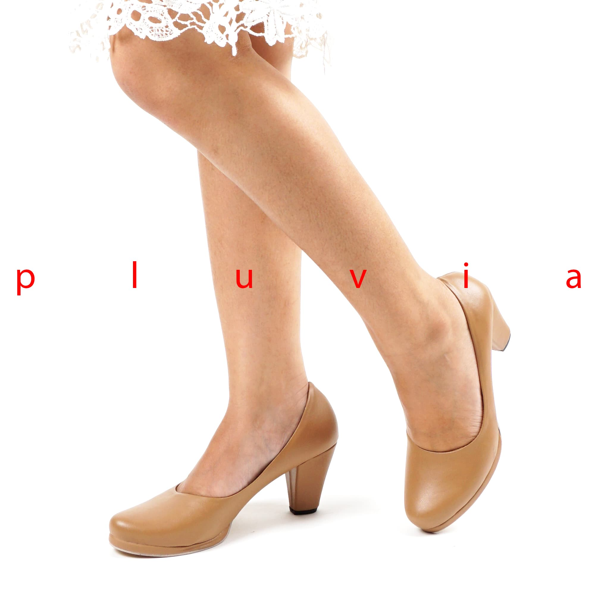 Jual Sepatu Pantofel Wanita Block Heels SD01 Moka - Cokelat Muda, 37 - Pluvia Shoes