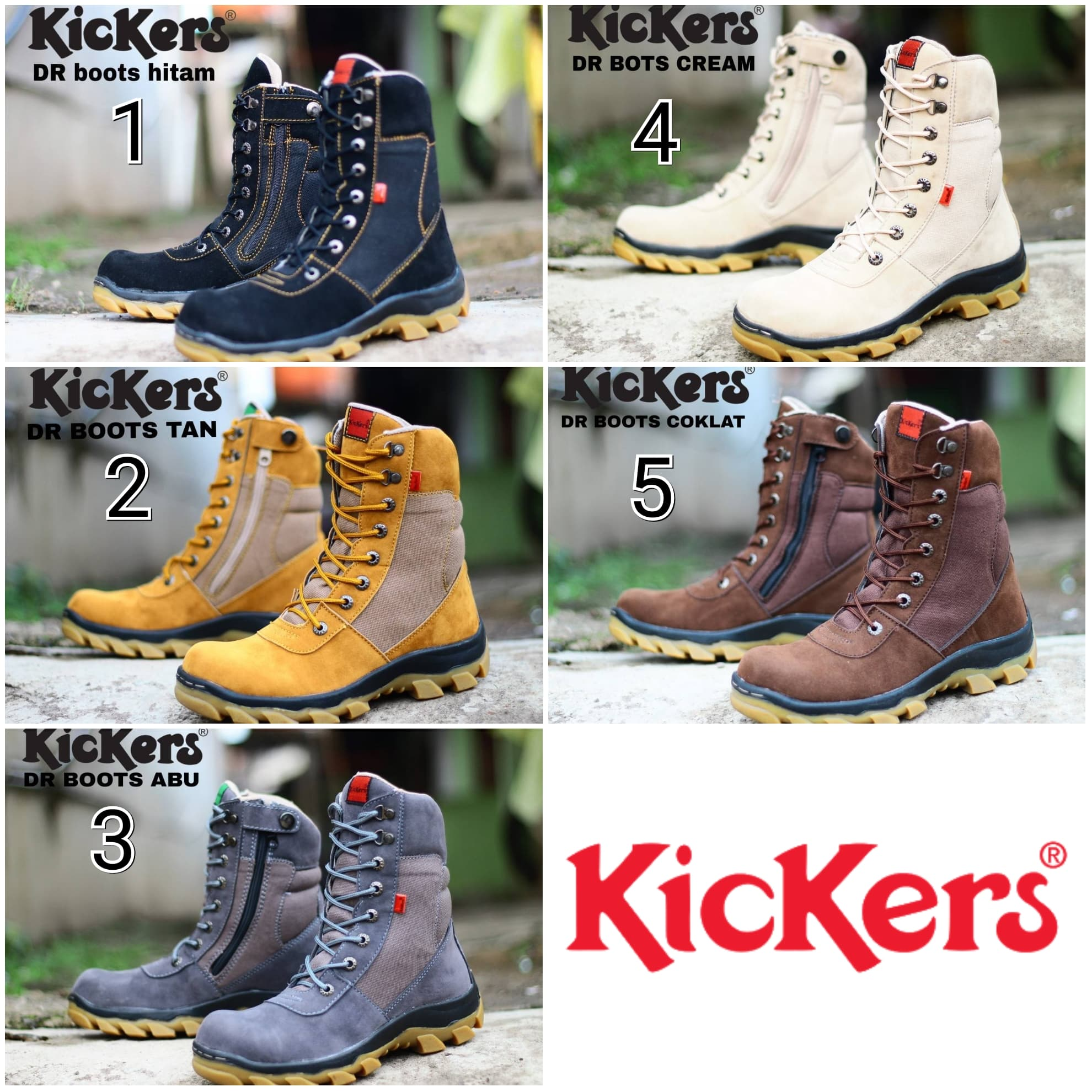 PENAWARAN Sepatu Kickers DR Boots Pria Safety Ujung Besi Kulit Suede  Tracking 6b250bb717