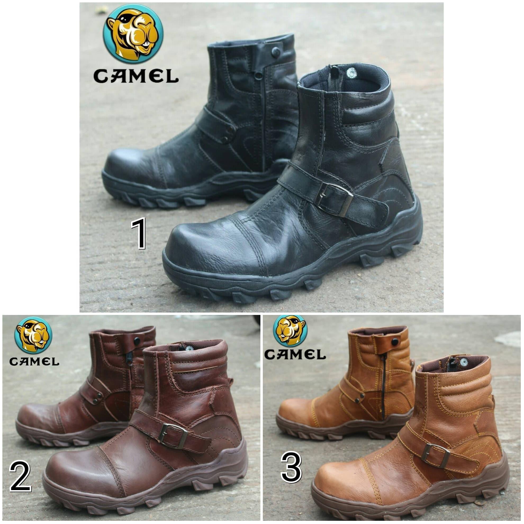 DISKON Sepatu Boots Pria Camel Coboy Safety Ujung Besi Kulit Asli Adventure 7d6820c0db