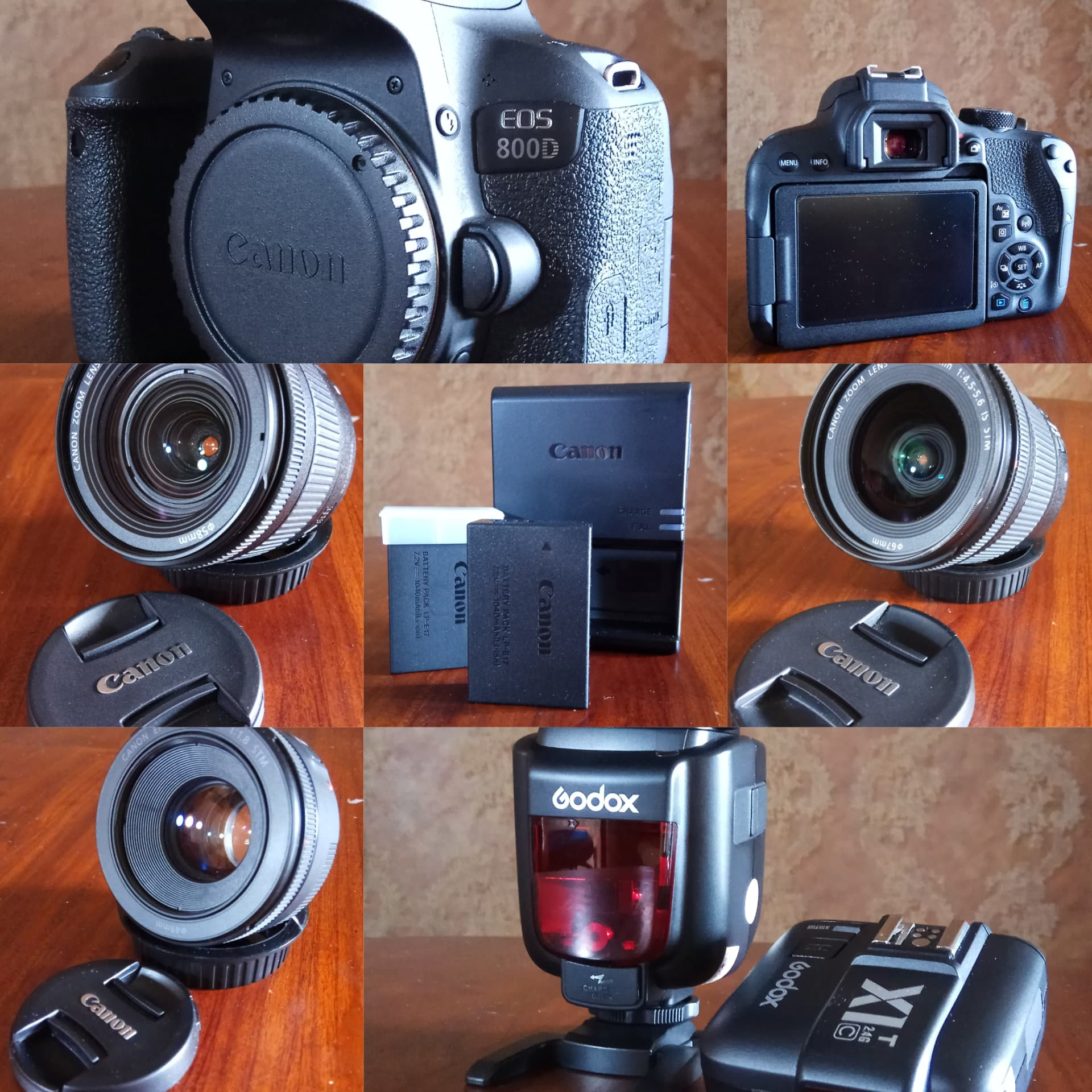 Jual Canon EOS 800D + 3 Lensa + 2 batre ori + flash + trigger