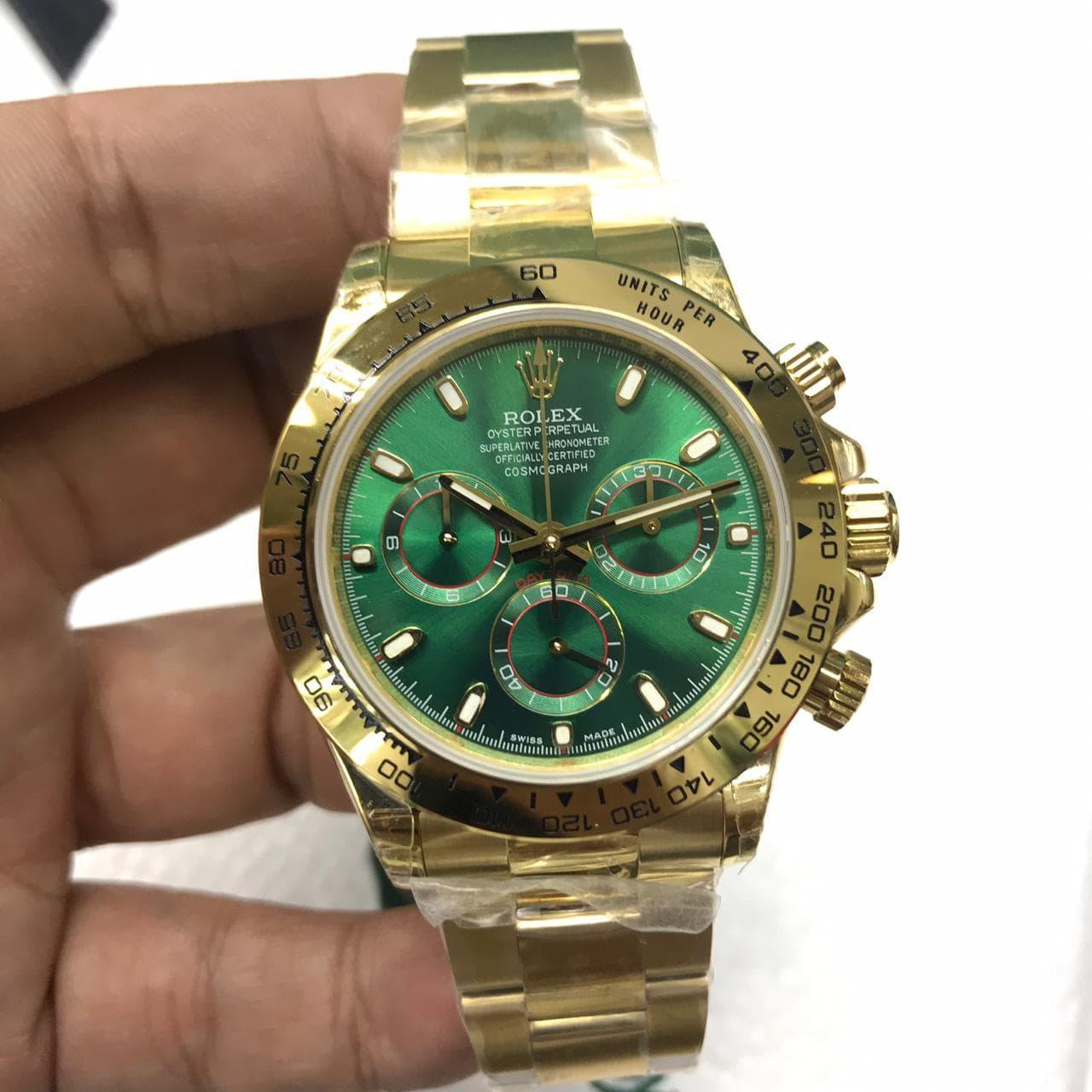 DISKON Rolex Daytona Cosmograph JHF Swiss Clone 1 1 Green Dial Yellow Gold a945612f7e