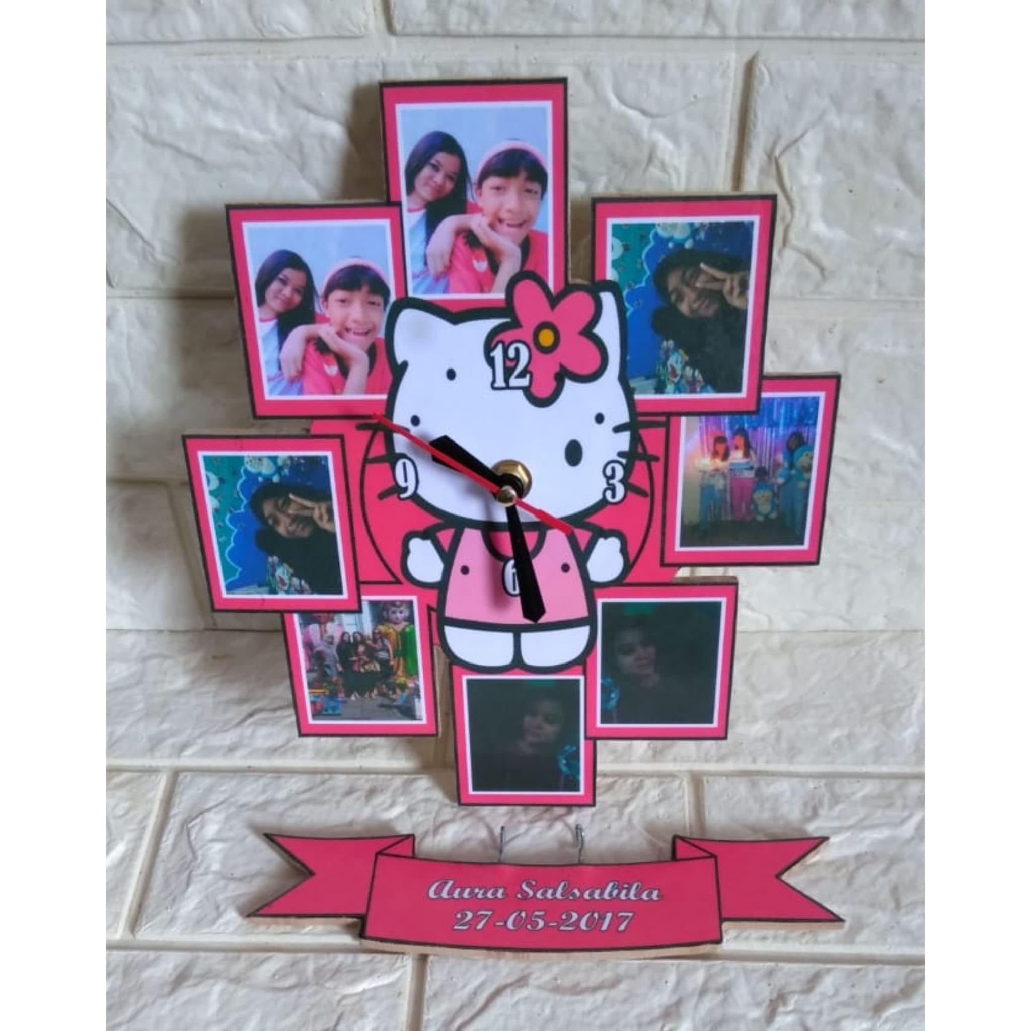 Jam Dinding Kayu Custom Frame Foto Karakter Kartun Tema Hello Kitty