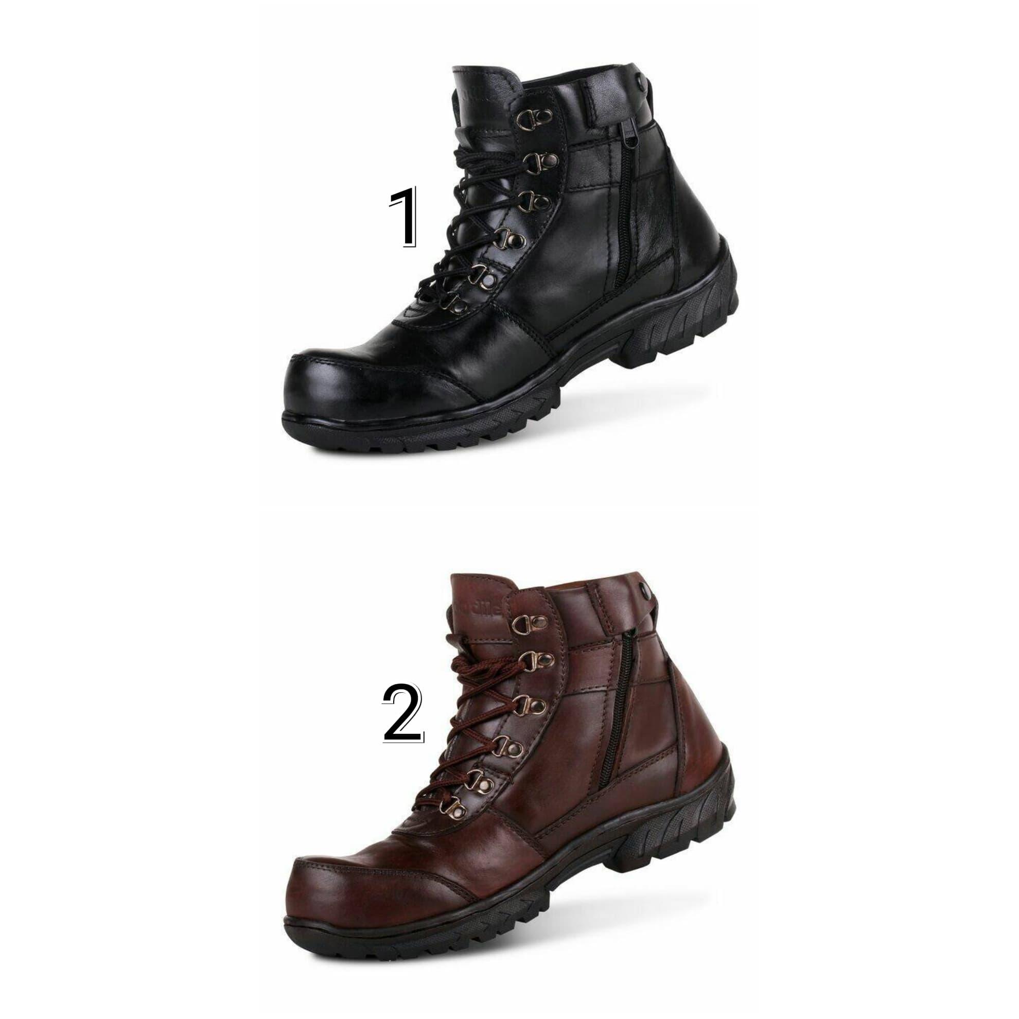 PENAWARAN Sepatu Boots Pria Crocodile Proyek Zip Kulit Asli Safety Ujung  Besi 61d4f7e4ac