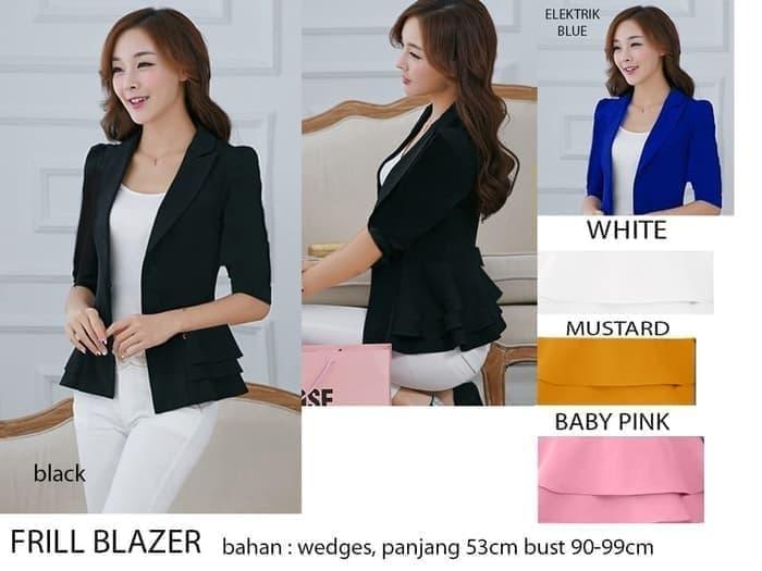 MURAH Baju Atasan Wanita Blazer Hitam Korea Kerja Polos 9d1f40a35f