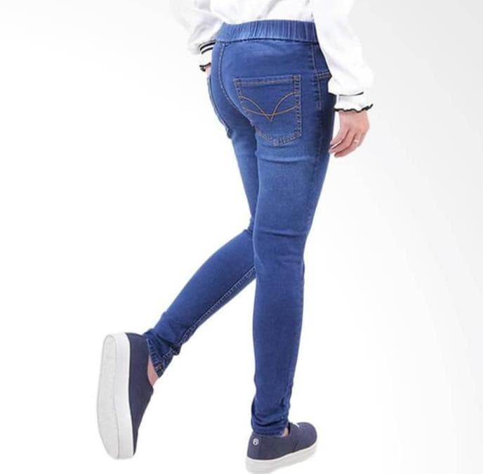 PENAWARAN Celana jeans pinggang karet legging jeans ukuran kecil 27-30 - Navy,