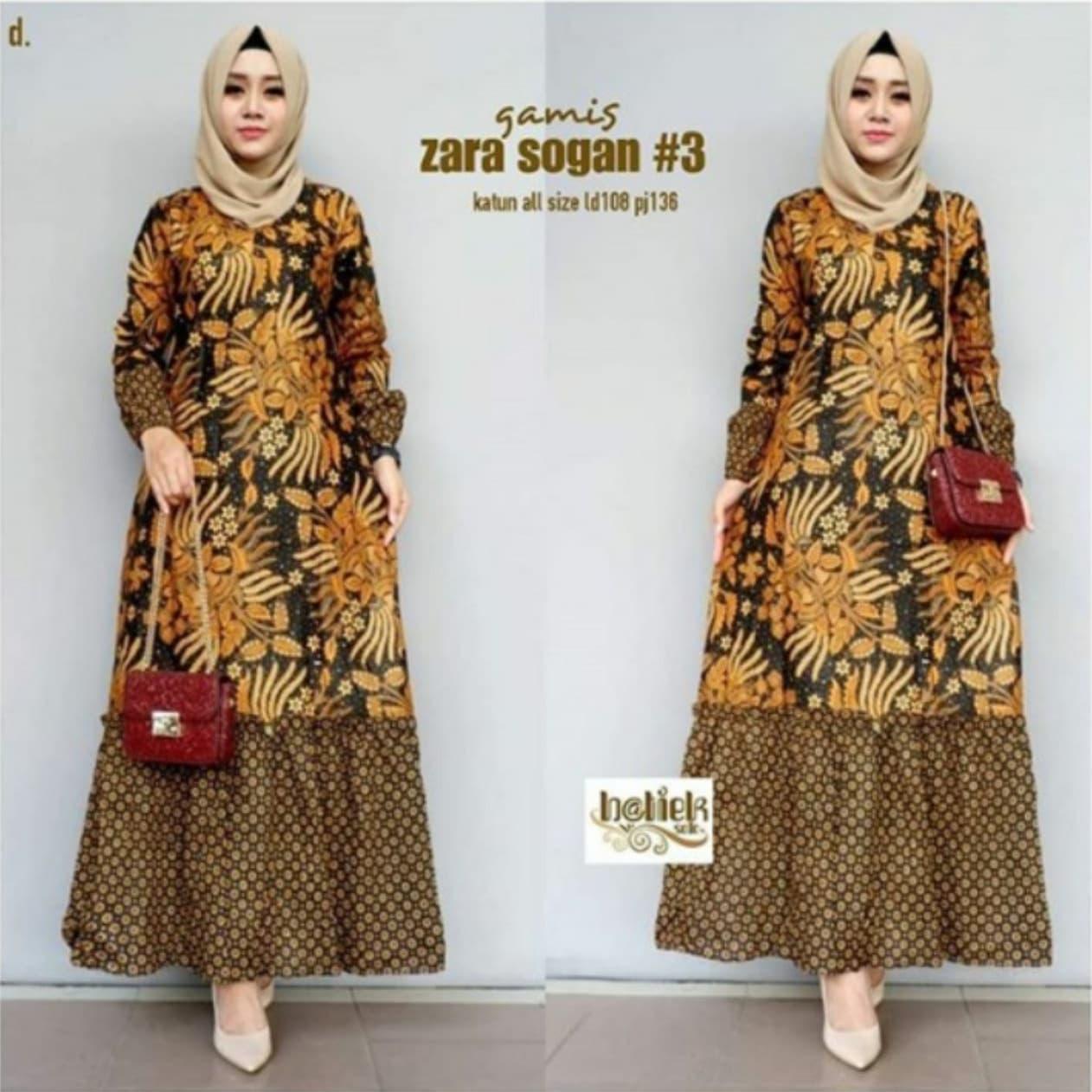 Jual Batik Rifa GBR12 Dress Batik Wanita Gamis Batik Sogan