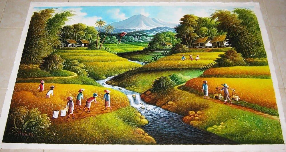95+ Lukisan Pemandangan Kampung Yang Indah Gratis