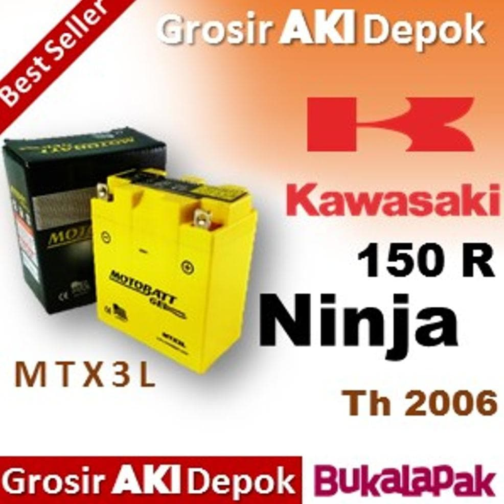 PENAWARAN terbaru Aki Ninja 150 RR Kawasaki - MOTOBATT MTX3L aki kering  motor 51e76ff796