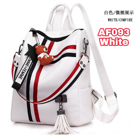 tas ransel wanita Backpack punggung import Sekolah Kuliah Kerja 093 - WHITE  PUTIH e00f6dbd5c