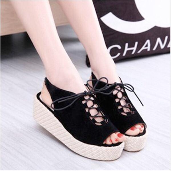 Wedges Sepatu Sandal Bcn 1123 Hitam - tempat jual Produk Popular Di ... 24109739b1