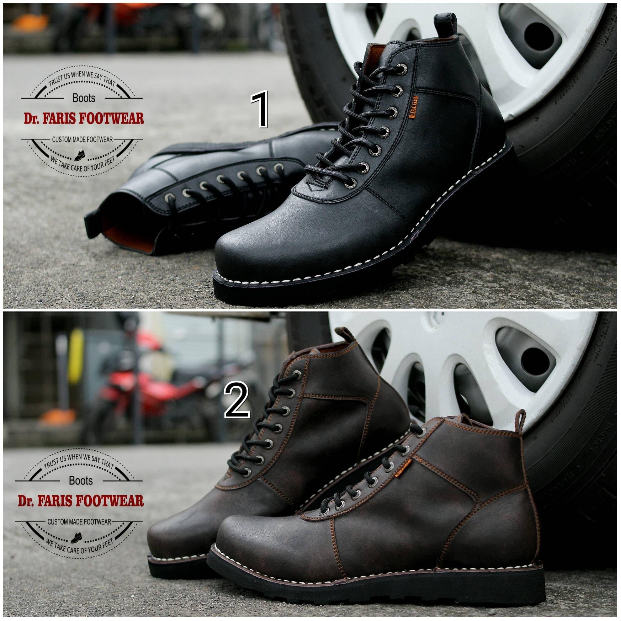 MURAH Sepatu Boots Pria Dr. Faris Sima Kulit Casual Formal Kerja Kantor 72eda8d6c3