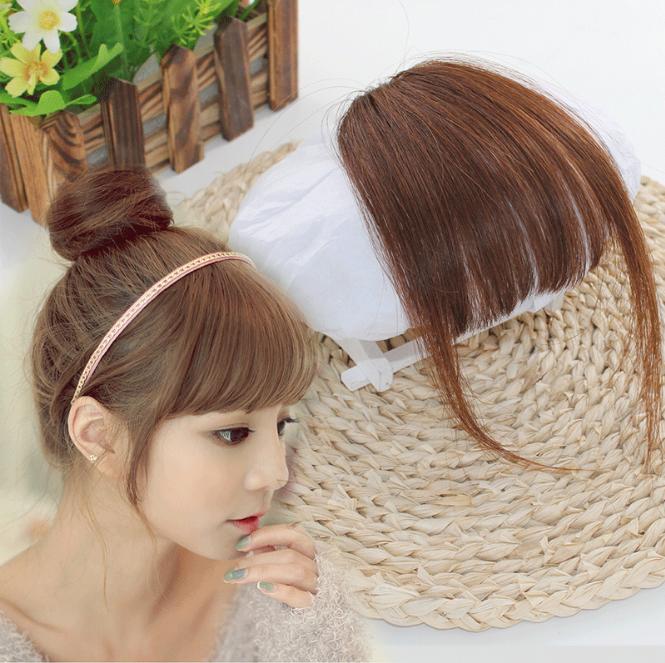 poni clip medium side bang hair clip rambut palsu extension - Hitam thumbnail
