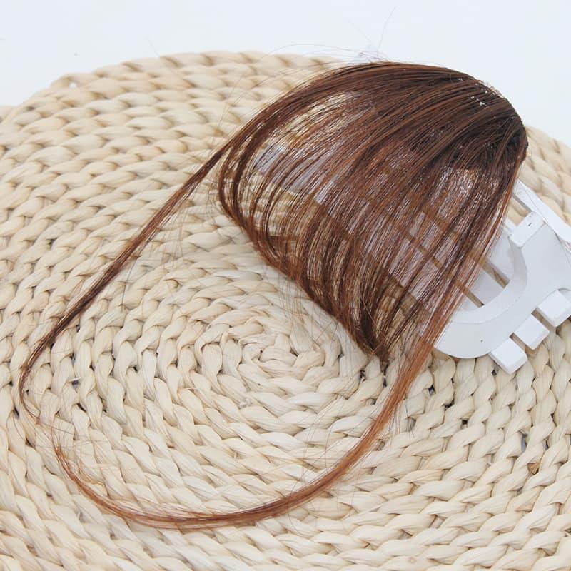 poni clip tipis side bang hair clip rambut palsu extension - Dark Brown thumbnail