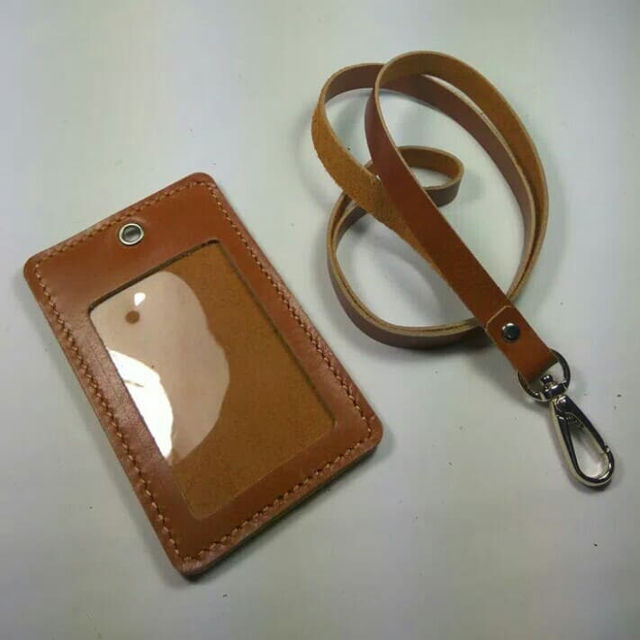 MURAH id card holder kulit asli warna tan l gantungan id card l tali id card cfb79ed444