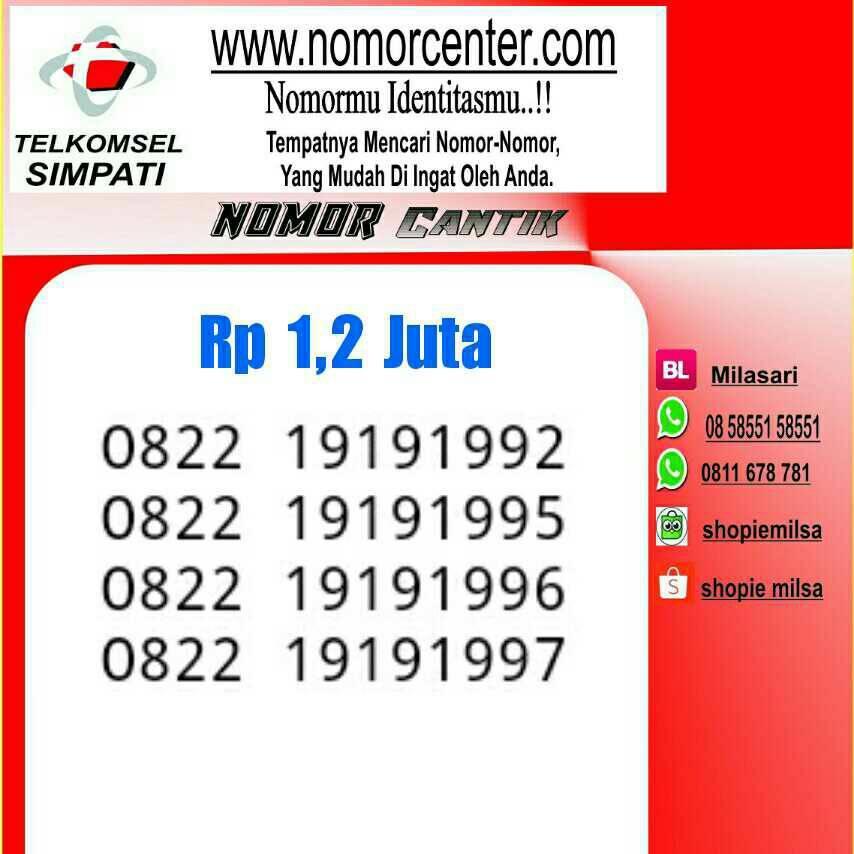 Jual Nomor Cantik Simpati Tsel Seri Tahun 0822 1919 1992 1997 NC 230 DKI Jakarta nomor
