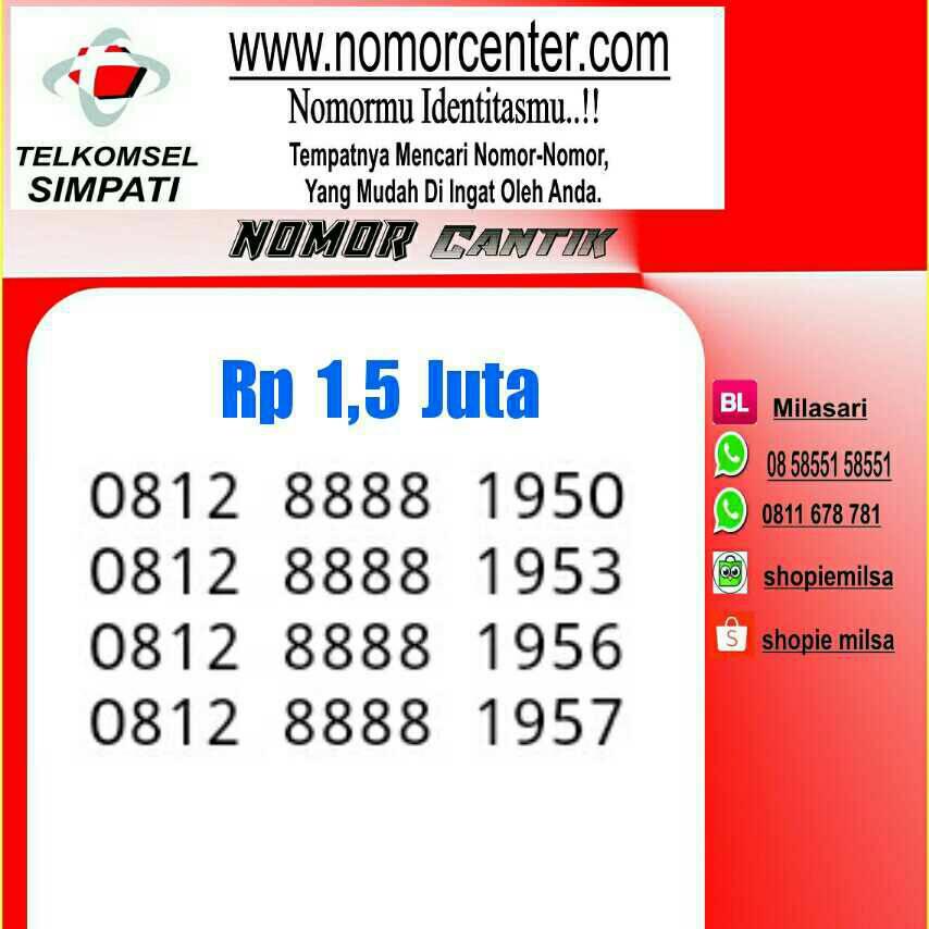 ... Nomor cantik Telkomsel simpati Seri Kwartet 8888 Ratusan 400 0812 8888 1400 Unik Rapi Nc04 241. Source · 2548679_df28fd37-5301-4d59-b44f-ef17866cf1b1. ...