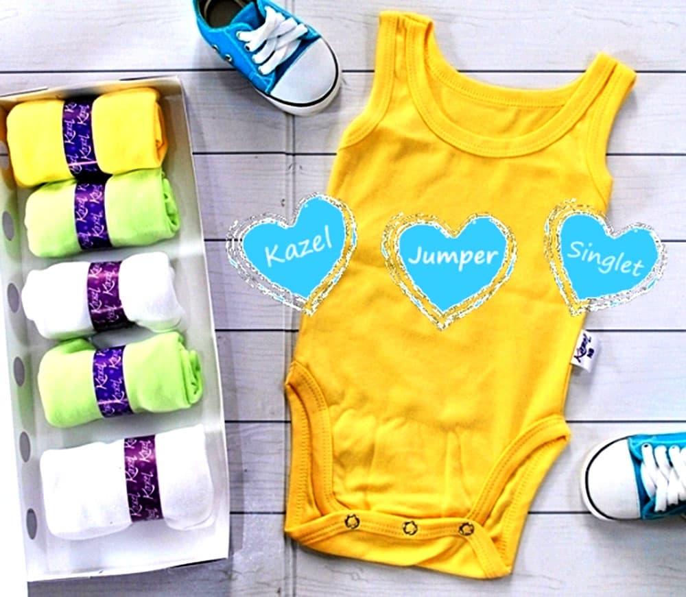 ... Jual Kazel Singlet Jumper baju bayi s d batita Isi 6 Pc Motif Polos XXL BABY SHOP