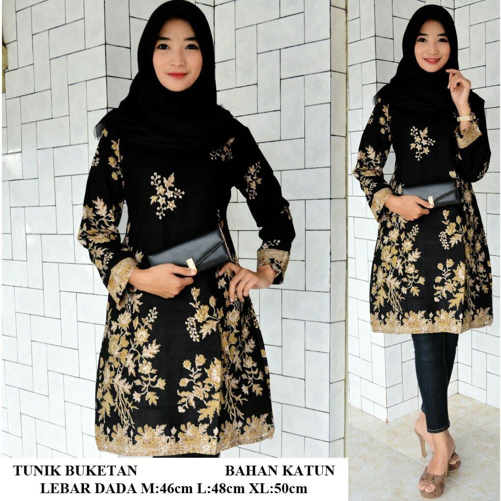 Tunik Batik Gotic Bunga Simple Elegan