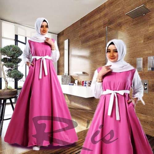 Long Dress Baju Gamis Muslim Wanita Dewasa Modern