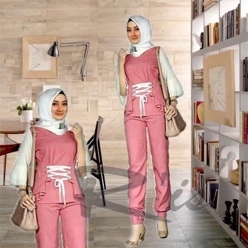 Baju Celana Setelan Wanita Muslim Tali Pita
