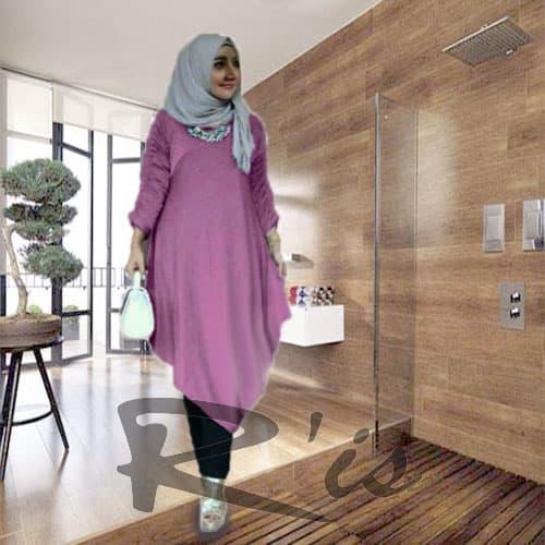 baju gamis modern asimetris modis wanita muslim dewasa