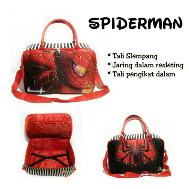 AMT Tas Travel Spiderman Selempang Panjang Kanvas Tebal Complete Series - Blanja.com