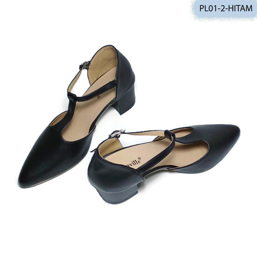Sandal Wanita Model High Heels Warna Hitam