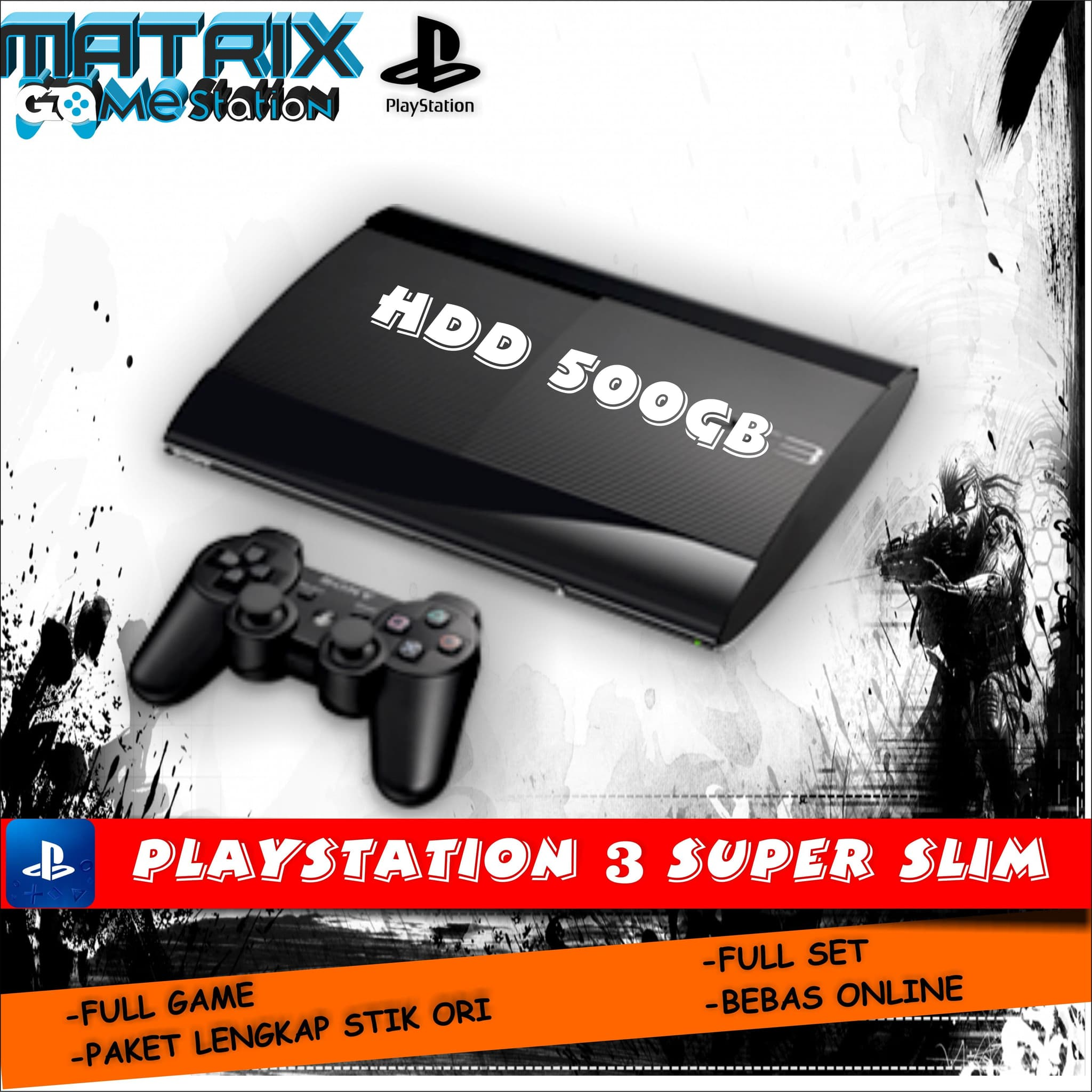 Playstation 3 Super Slim 500gb Full Games 1 Stick Promo