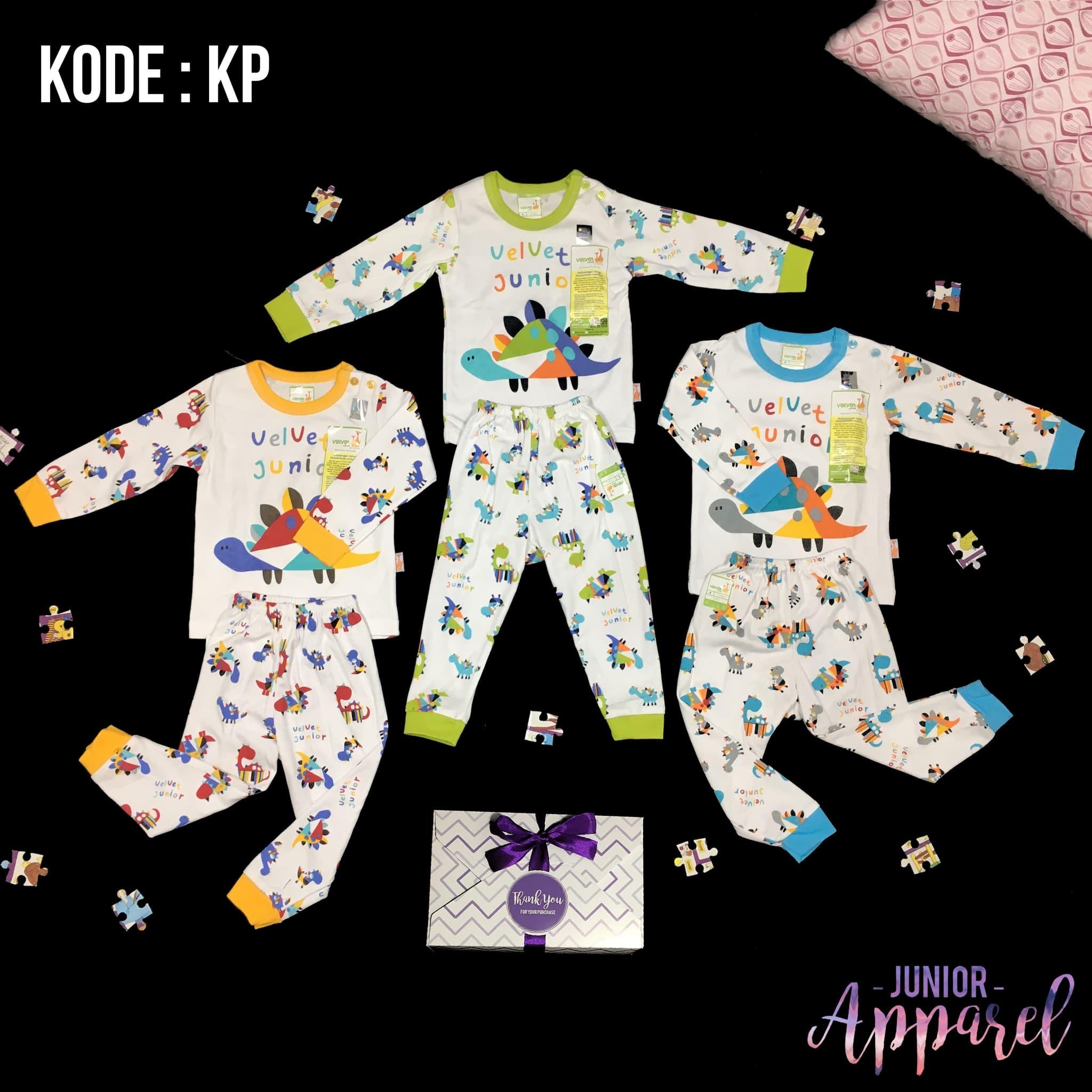 Velvet Junior S M L Setelan Panjang Baju Tidur Piyama Bayi Playful
