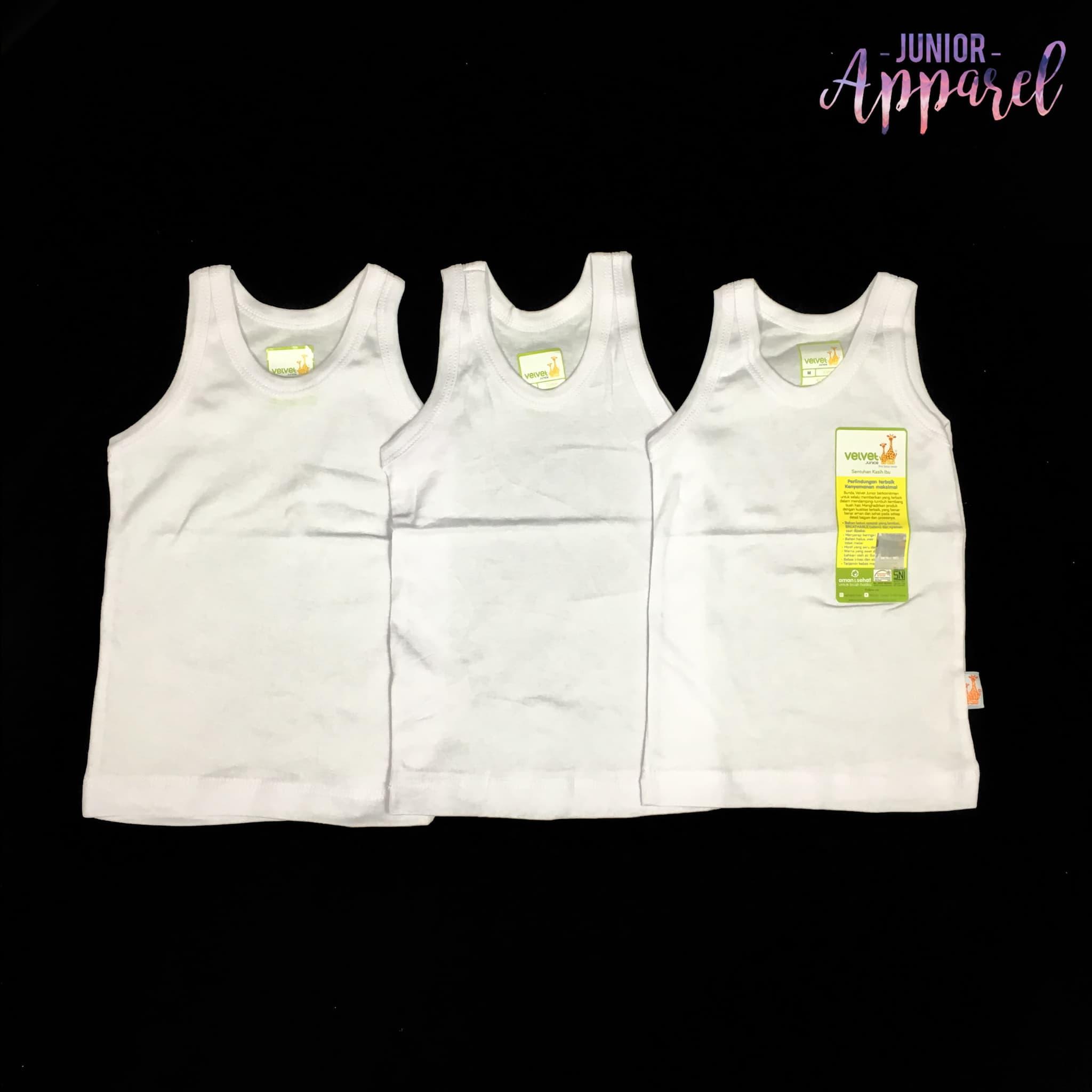 Jual Velvet Junior M 3 Pcs Singlet Bayi Putih Polos Ndal Setelan Baju Bola Terlaris