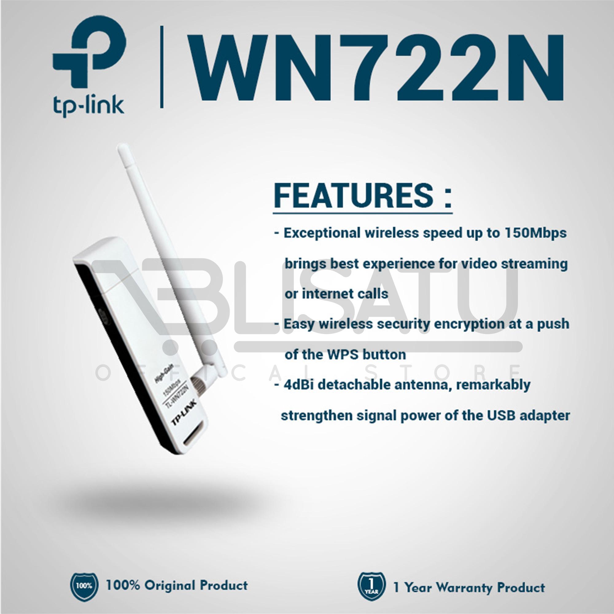 harga Tp-link N150 Wireless High Gain Usb Adapter (tl-wn722n) Blanja.com