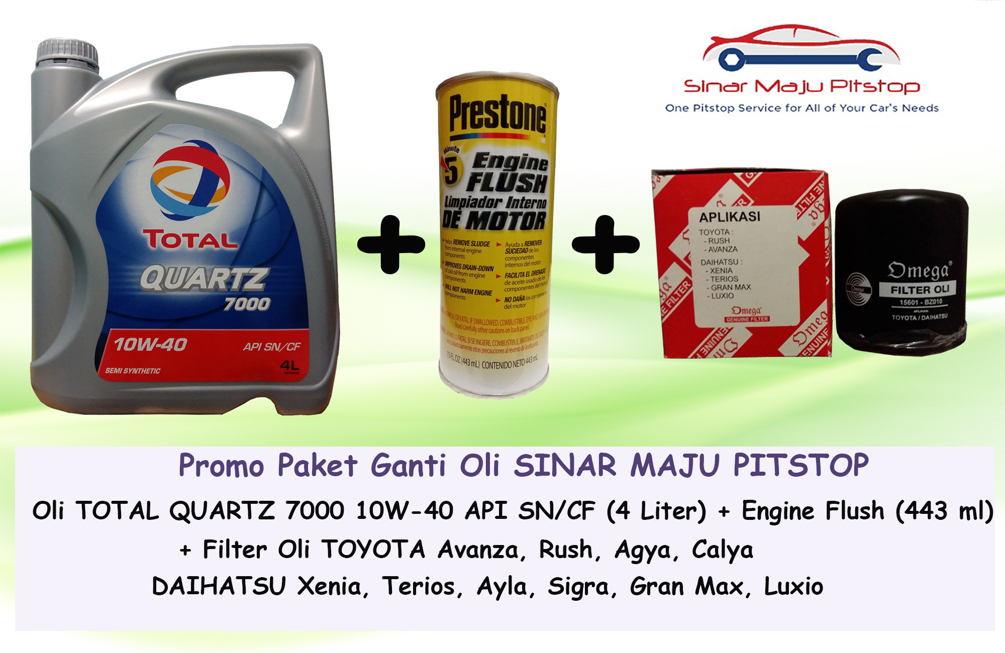 Jual Paket Ganti Oli Mobil Calya Sigra Total Quartz Filter Omega Prestone Engine Flush Original